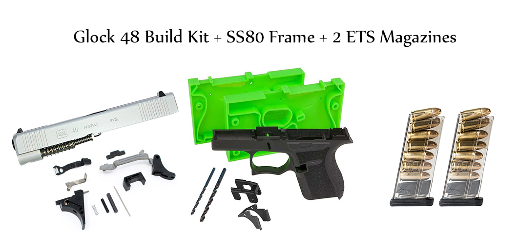 Glock 48 Build Kit - Single Stack 9mm Slide, Lower Parts Kit, SS80 Frame  Kit and Mags