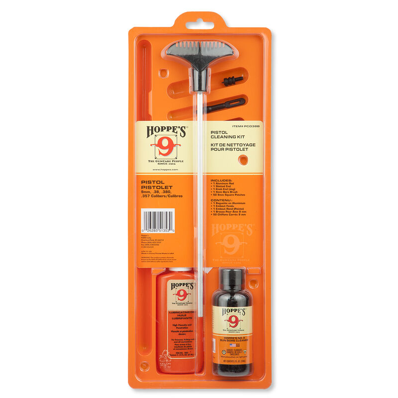 Hoppes 9 Pistol Cleaning Kit - 9mm, .38, .380, .357 Calibers