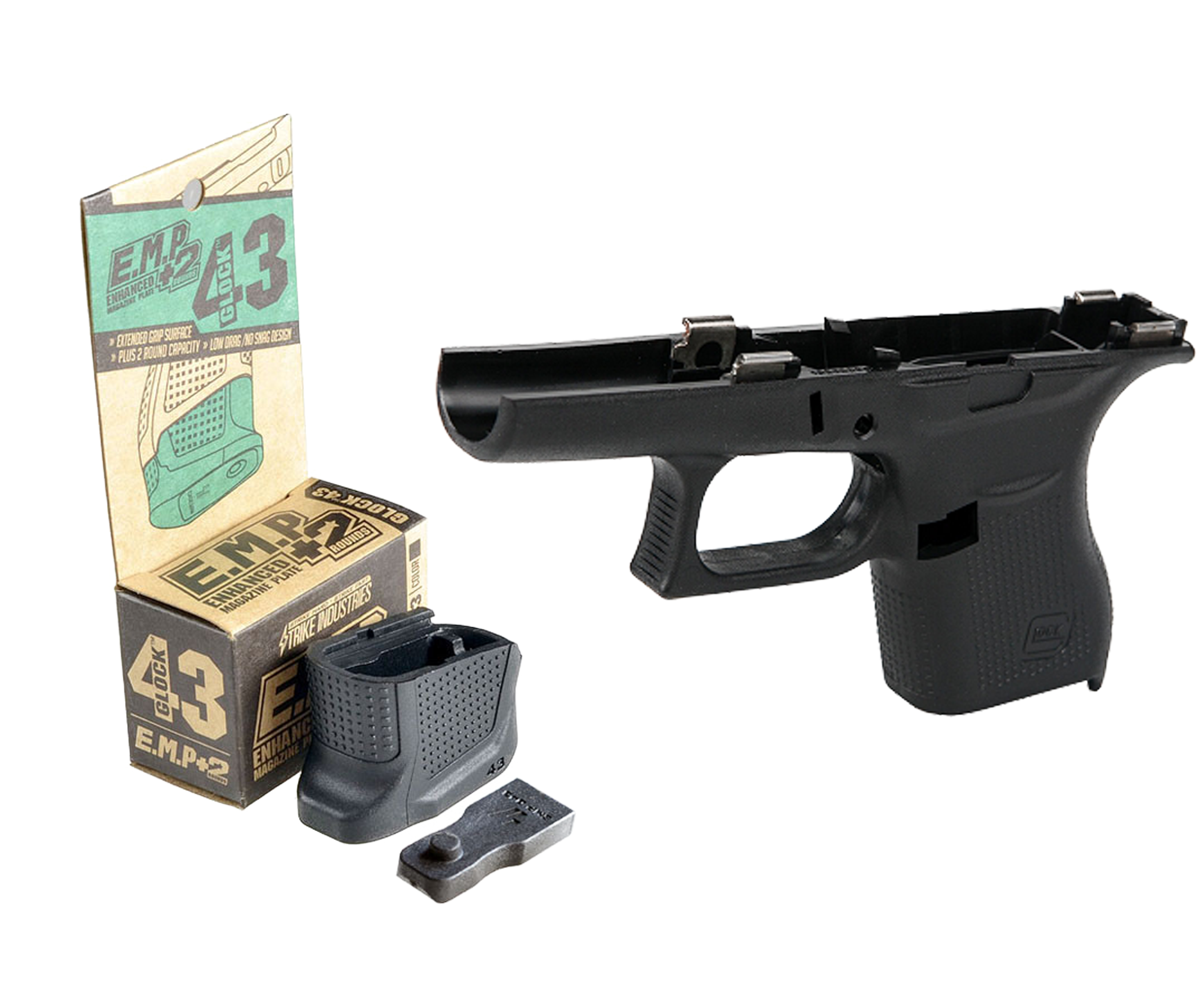 Glock 43 Stripped Frame and Strike Industries G43 EMP | Black